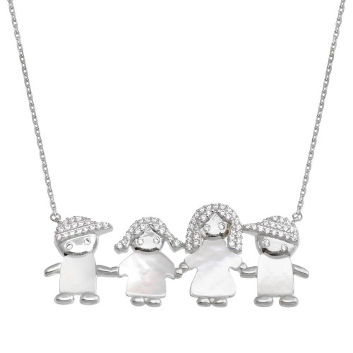 Wholesale Sterling Silver 925 Rhodium Plated CZ Mother of Pearl Mom 2 Boys and 1 Girl Necklace - GMN00141