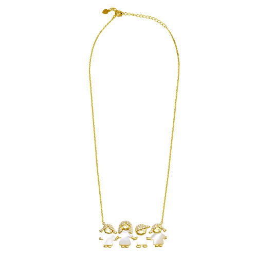 Wholesale Sterling Silver 925 Gold Plated CZ Mother of Pearl Mom 2 Girls and 1 Boy Necklace - GMN00142GP