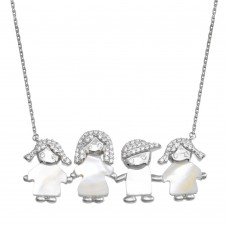 Wholesale Sterling Silver 925 Rhodium Plated CZ Mother of Pearl Mom 2 Girls and 1 Boy Necklace - GMN00142