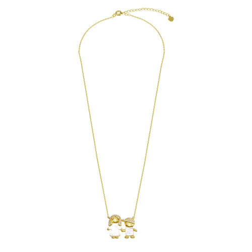 Wholesale Sterling Silver 925 Gold Plated CZ Mother of Pearl Mom and Boy Necklace - GMN00143GP