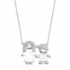 Wholesale Sterling Silver 925 Rhodium Plated CZ Mother of Pearl Mom and Boy Necklace - GMN00143