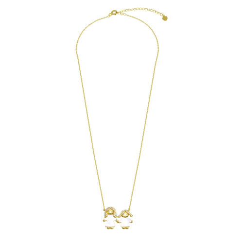 Wholesale Sterling Silver 925 Gold Plated CZ Mother of Pearl Mom and Girl Necklace - GMN00144GP