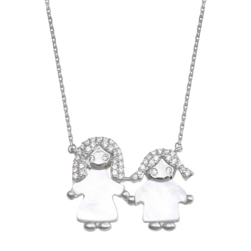 Wholesale Sterling Silver 925 Rhodium Plated CZ Mother of Pearl Mom and Girl Necklace - GMN00144