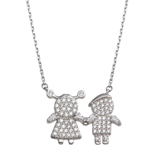 Wholesale Sterling Silver 925 Rhodium Plated CZ Brother and Sister Family Necklace - GMN00145