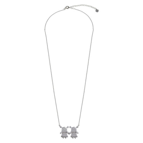 Wholesale Sterling Silver 925 Rhodium Plated CZ 2 Girls Family Necklace - GMN00146