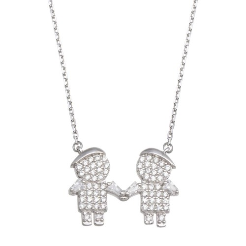 Wholesale Sterling Silver 925 Rhodium Plated CZ 2 Boys Family Necklace - GMN00147