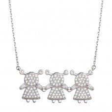 Wholesale Sterling Silver 925 Rhodium Plated CZ 3 Girls Family Necklace - GMN00148