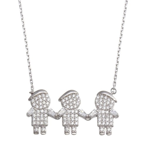 Wholesale Sterling Silver 925 Rhodium Plated CZ 3 Boys Family Necklace - GMN00149