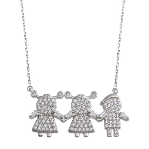 Wholesale Sterling Silver 925 Rhodium Plated CZ 2 Girls 1 Boys Family Necklace - GMN00150