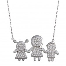 Wholesale Sterling Silver 925 Rhodium Plated CZ 1 Girls 1 Boys and Mom Family Necklace - GMN00151