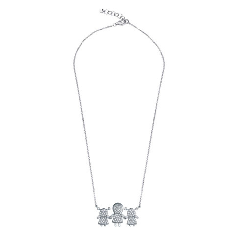 Wholesale Sterling Silver 925 Rhodium Plated CZ 2 Girls and Mom Family Necklace - GMN00152