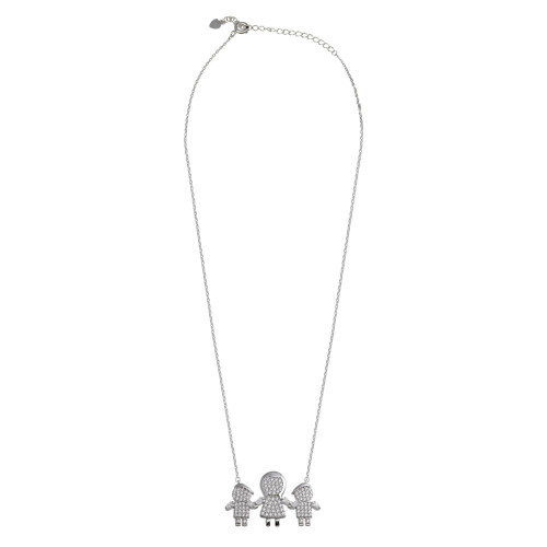 Wholesale Sterling Silver 925 Rhodium Plated CZ 2 Boys and Mom Family Necklace - GMN00153