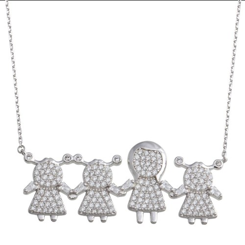 Wholesale Sterling Silver 925 Rhodium Plated CZ 3 Girls and Mom Family Necklace - GMN00154