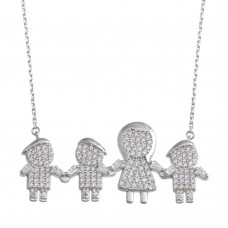 Wholesale Sterling Silver 925 Rhodium Plated CZ 3 Boys and Mom Family Necklace - GMN00155