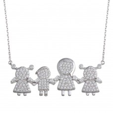 Wholesale Sterling Silver 925 Rhodium Plated CZ 1 Boy 2 Girls and Mom Family Necklace - GMN00156