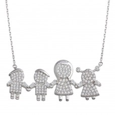 Wholesale Sterling Silver 925 Rhodium Plated CZ 2 Boys 1 Girl and Mom Family Necklace - GMN00157