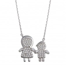 Wholesale Sterling Silver 925 Rhodium Plated CZ Boys and Mom Family Necklace - GMN00158