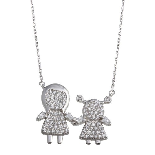 Wholesale Sterling Silver 925 Rhodium Plated CZ Girl and Mom Family Necklace - GMN00159