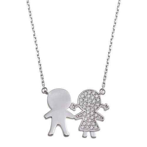 Wholesale Sterling Silver 925 Rhodium Plated CZ Girl and Boy Family Necklace - GMN00160