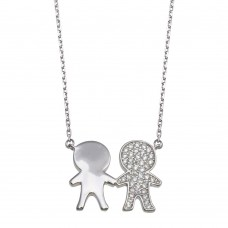 Wholesale Sterling Silver 925 Rhodium Plated CZ Boys Family Necklace - GMN00161