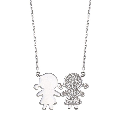 Wholesale Sterling Silver 925 Rhodium Plated CZ Girls Family Necklace - GMN00162