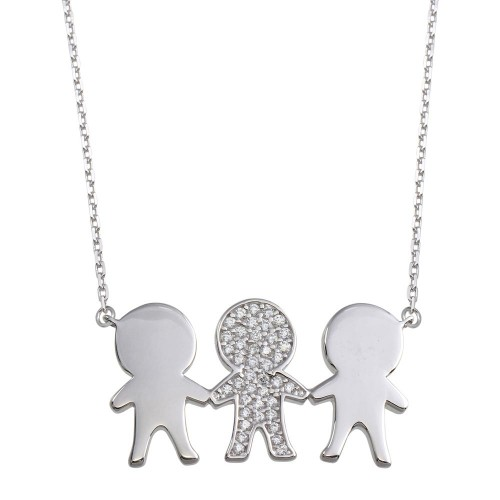 Wholesale Sterling Silver 925 Rhodium Plated CZ 3 Boys Family Necklace - GMN00163