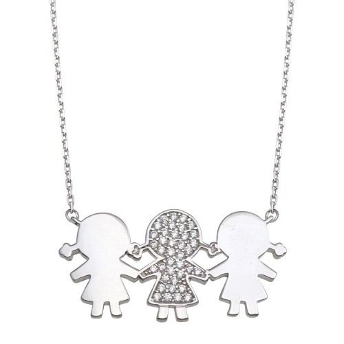 Wholesale Sterling Silver 925 Rhodium Plated CZ 3 Girls Family Necklace - GMN00165