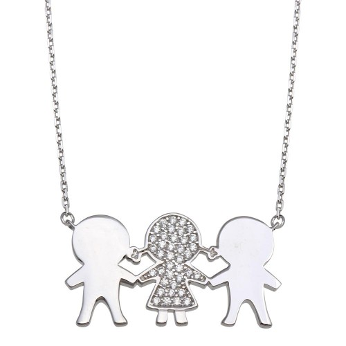 Wholesale Sterling Silver 925 Rhodium Plated CZ 2 Girls  and 1 Boy Family Necklace - GMN00166