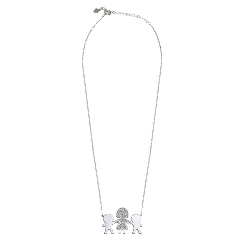 Wholesale Sterling Silver 925 Rhodium Plated CZ 2 Boys  and Mom Family Necklace - GMN00167