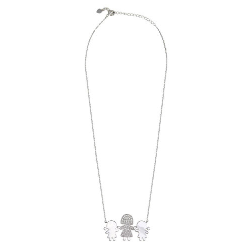 Wholesale Sterling Silver 925 Rhodium Plated CZ 2 Girls  and Mom Family Necklace - GMN00168