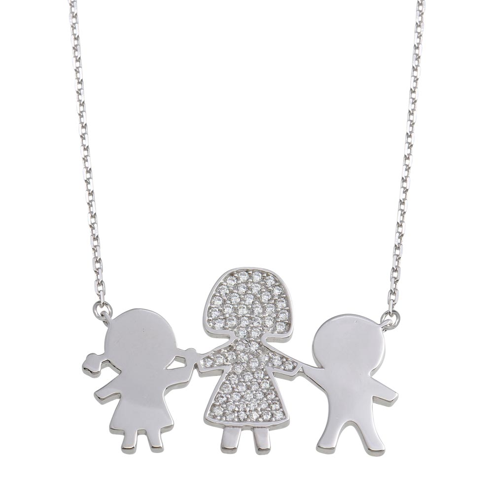 Wholesale Sterling Silver 925 Rhodium Plated CZ Boy, Girl and Mom Family Necklace - GMN00169