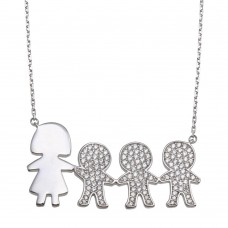 Wholesale Sterling Silver 925 Rhodium Plated CZ 3 Boys and Mom Family Necklace - GMN00170