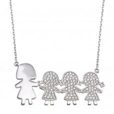 Wholesale Sterling Silver 925 Rhodium Plated CZ 3 Girls and Mom Family Necklace - GMN00171