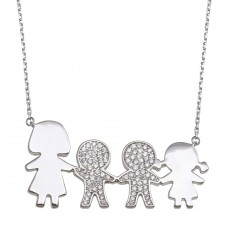 Wholesale Sterling Silver 925 Rhodium Plated CZ 2 Boys, Girl and Mom Family Necklace - GMN00172
