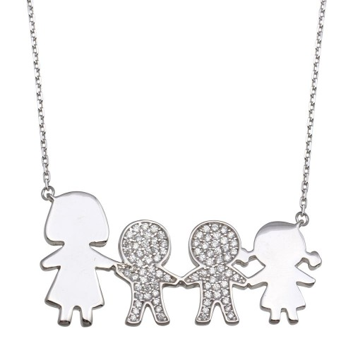 Wholesale Sterling Silver 925 Rhodium Plated CZ 2 Girls, Boy and Mom Family Necklace - GMN00173