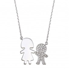 Wholesale Sterling Silver 925 Rhodium Plated CZ Boy and Mom Family Necklace - GMN00174
