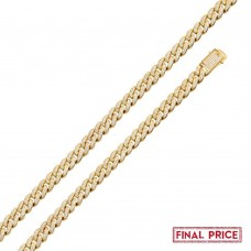 Wholesale Sterling Silver 925 Gold Plated 9mm Miami Curb CZ Necklace - GMN00176GP