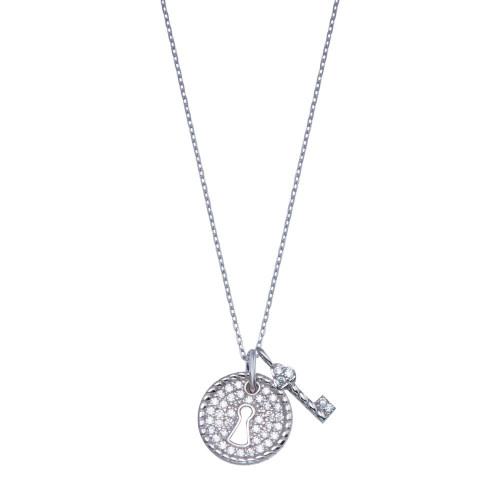 Wholesale Sterling Silver 925 Rhodium Plated Lock and Key Necklace - GMN00184