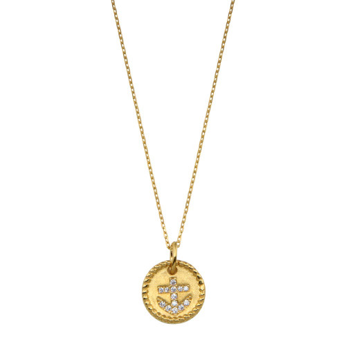 Wholesale Sterling Silver 925 Gold Plated CZ Round Anchor Necklace - GMN00185GP