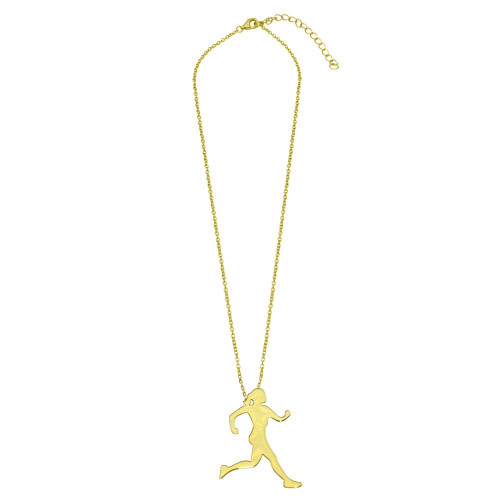 Wholesale Sterling Silver 925 Gold Plated Runner Necklace - GMN00187GP