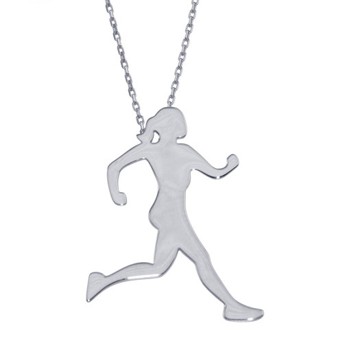 Wholesale Sterling Silver 925 Rhodium Plated Runner Necklace - GMN00187RH