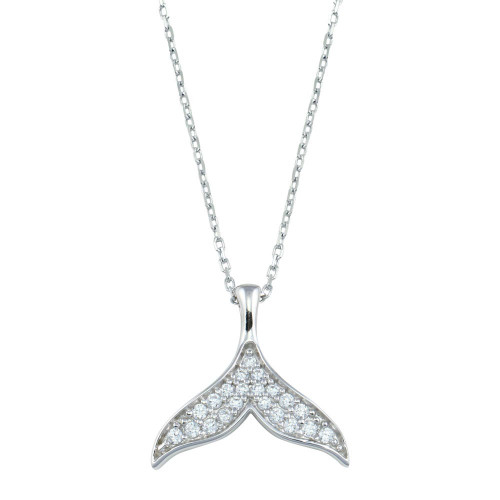 Wholesale Sterling Silver 925 Rhodium Plated Fishtail CZ Necklace - GMN00188
