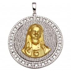 Sterling Silver Two-Toned Round Jesus Pendant Necklace **Pendant Only** - GMP00012RG