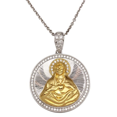 Wholesale Sterling Silver 925 Two-Toned Round Virgin Mary Pendant Necklace with CZ - GMP00014RG