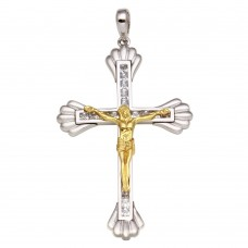 Wholesale Sterling Silver 925 Two-Toned Crucifix Pendant **Pendant Only** - GMP00020RG