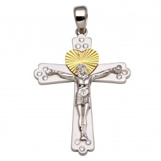 Sterling Silver Two-Toned Crucifix Heart Pendant with CZ **Pendant Only** - GMP00022RG