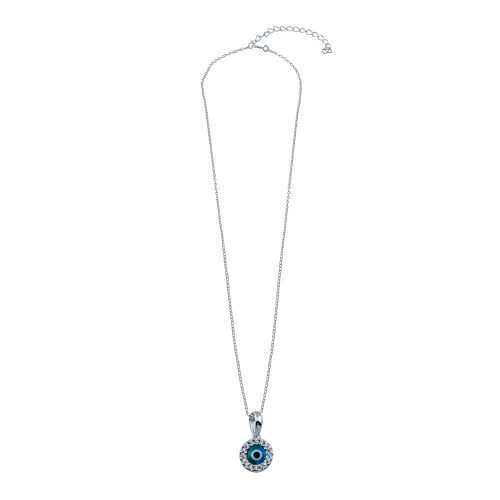 Wholesale Sterling Silver 925 Rhodium Plated Round Evil Eye Necklace - GMP00006RH-BLUE