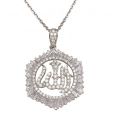 Sterling Silver Rhodium Plated Allah Necklace with CZ - GMP00007