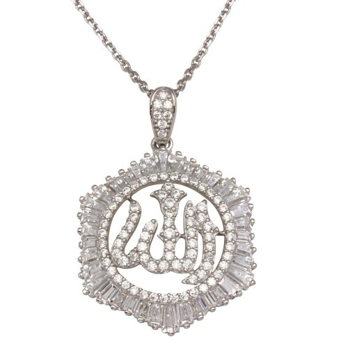 Wholesale Sterling Silver 925 Rhodium Plated Allah Necklace with CZ - GMP00007