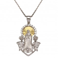 Sterling Silver Two-Toned Virgin Mary Pendant Necklace - GMP00008RG